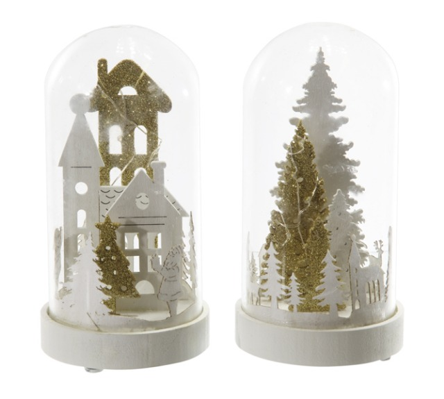 17-43244, LED Winterkuppel 16 cmH, weiß/gold, LED Licht