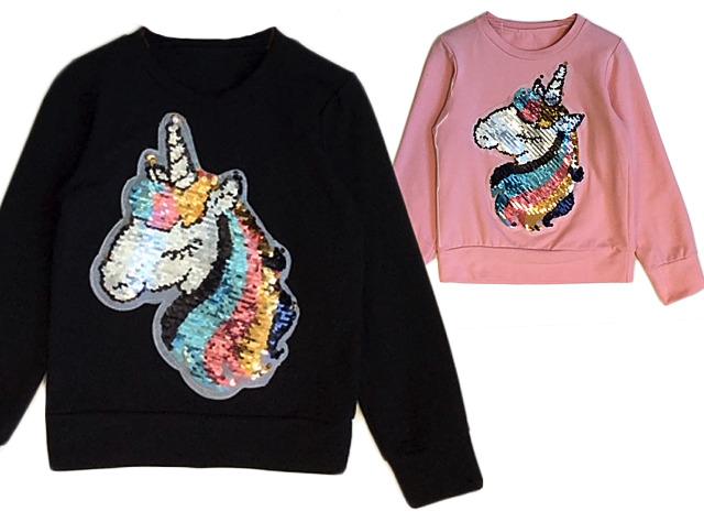 Kinder Mädchen Pullover Einhorn Pailletten Glitzer Langarmshirt Sweatshirt Shirt Pulli Sweater Kinderpullover Oberteil - 7,90 Euro