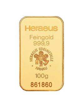 100 Gramm Goldbarren (Heraeus)steuerbefreit nach § 25c USTG