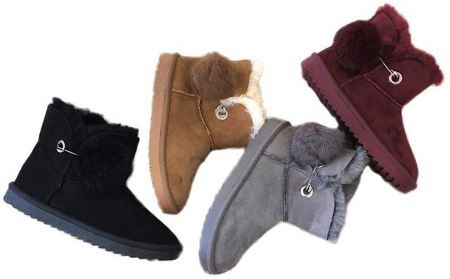 Damen Trend Stiefeletten Outdoor Puschel Bommel Fell Boots Stiefel Halbstiefel Schlupfstiefel Warm Gefüttert Herbst Winter Shoes Freizeit 12