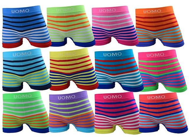 Kinder Boxershorts 10 - 12 Jahre Trend Streifen Boxer Stretch Neonfarben Basic Hipster Short Underwear Unterwäsche Unterhosen - 1,19 Euro