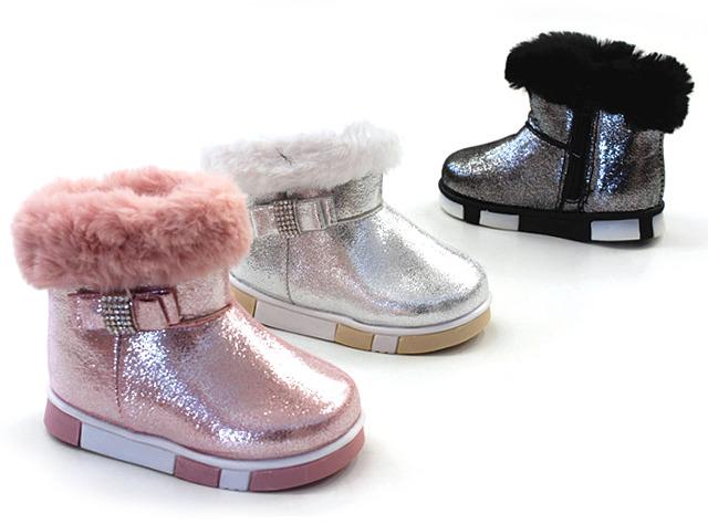 Kinder Baby Mädchen Trend Glitzer Stiefeletten Fell Boots Stiefel Halbstiefel Schlupfstiefel Warm Gefüttert Herbst Winter Shoes Outdoor Frei