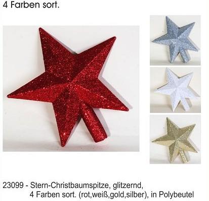 12-23099, Stern-Christbaumspitze, 19 cm, glitzernd