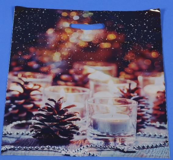 12-52900008, Weihnachts Tragetaschen Kerzen + Zapfen