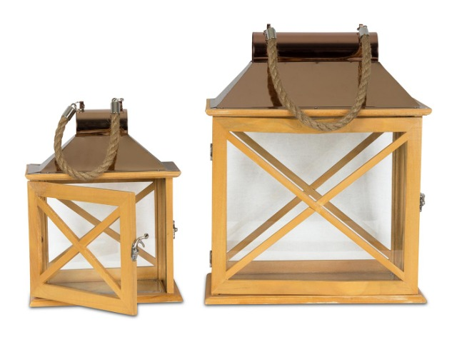 2er Set Laternen 32cm und 22cm Holz Metall Natur Windlicht Deko Garten Gartendeko Holzlaterne