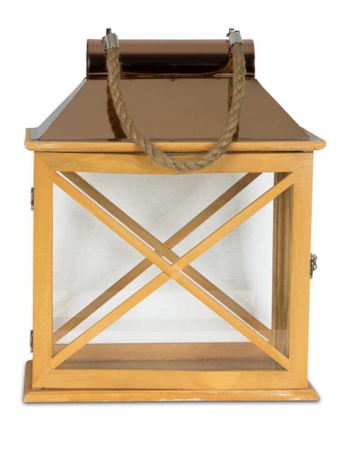 2er Set Laternen 32cm Und 22cm Holz Metall Natur Windlicht Deko