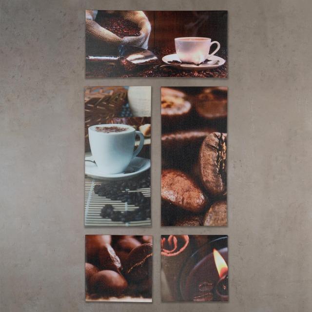 Wandbild 5er Set 86x42cm Leinwand Kaffee Cappuccino Küche Deko Bild