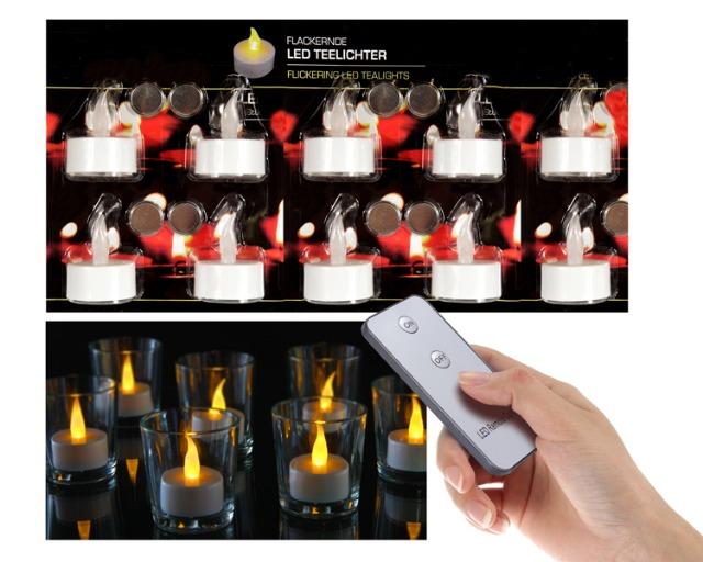 12-72349, LED Teelicht 10er Set mit Fernbedienung, Kerze flackert, Teelichter, Teelichtkerze