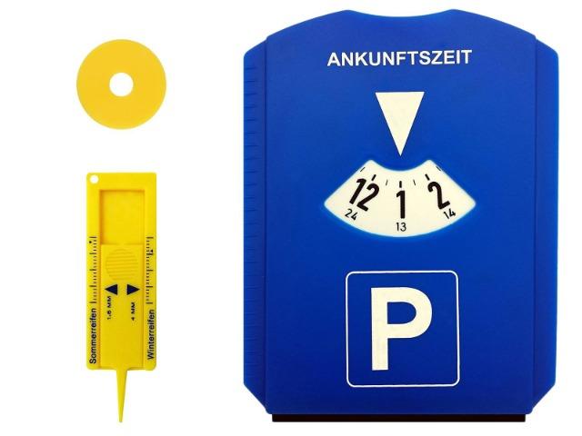 Parkscheibe EU mit Reifenprofiltiefenmesser und Einkaufswagenchip für Autos