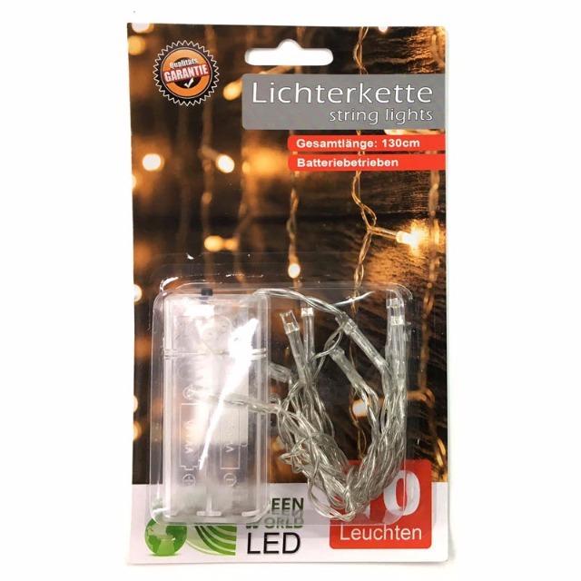 12-75574, LED Lichterkette 10 LED warmweiss 130 cm, Weihnachtsbaum, Tannenbaum, usw