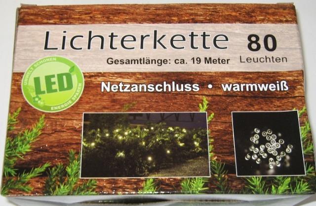 12-76396, Lichterkette LED 80er, 19 Meter lang, warm weiß, für innen und außen geeignet