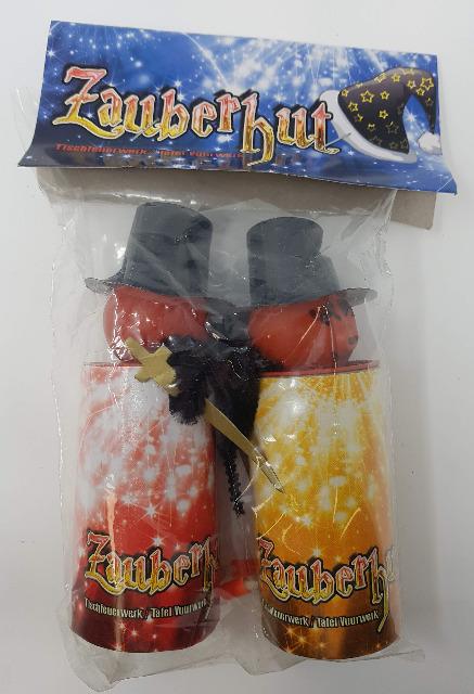 Zauberhut Schornsteinfeger, 2er Party Tischbombe, Silvester Feuerwerk