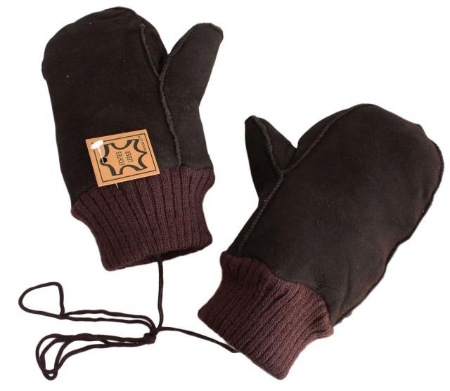 Lederfausthandschuh mit Strickstulpe und Lammfellfutter