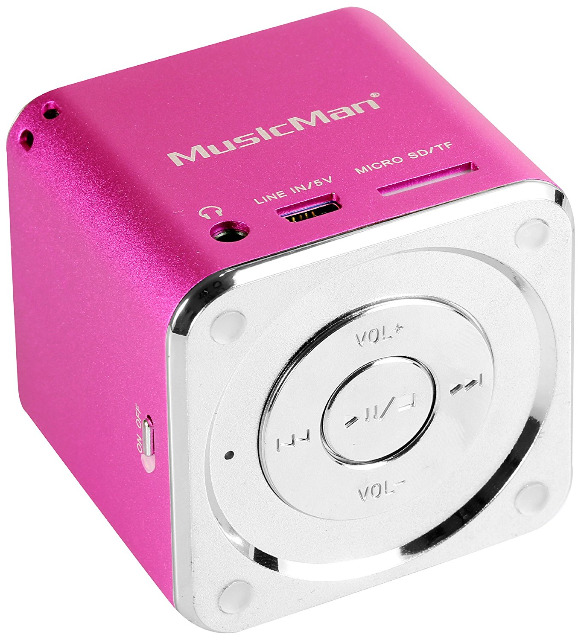 MusicMan Mini Lautsprecher pink MP3 Player, Stereo Soundbox, Musikbox, Line In, SD/microSD Kartenslot, Boombox, Musikbox, Music Box