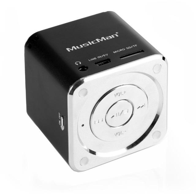 MusicMan Mini Lautsprecher schwarz MP3 Player, Stereo Soundbox, Musikbox, Line In, SD/microSD Kartenslot, Boombox, Musikbox, Music Box