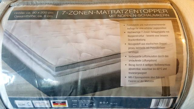FAN Matratzentopper 7-Zonen Größe 90x200 cm