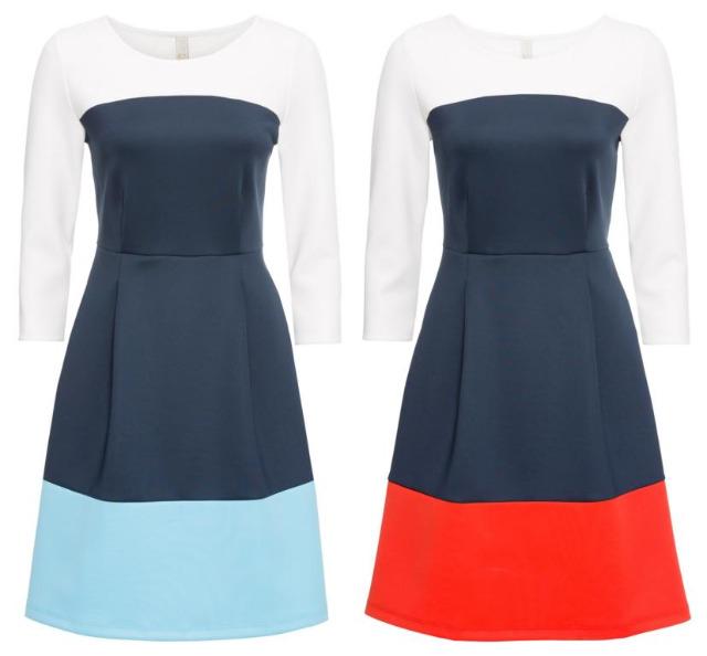 Damen Kleid mit Blockfarben 2 Farben Kleider Restposten Kleidung