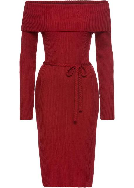 Strickkleid Rot Damen Kleider Carmenausschnitt Kleid Großhandel