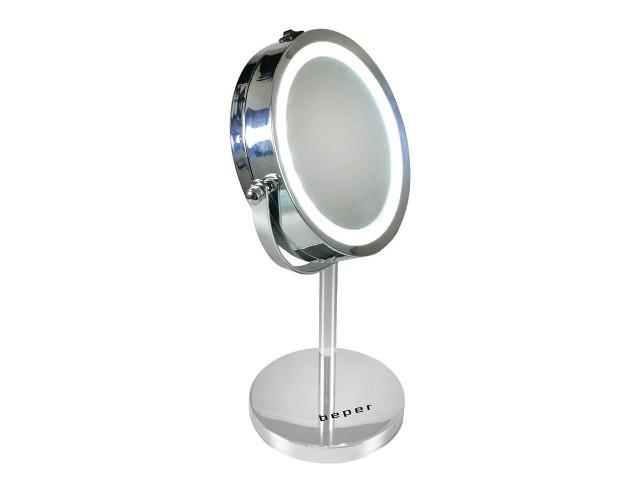 Beper 40.290 runder LED Kosmetik Spiegel 360° Rotation 5-Fach Vergrößerung Doppelspiegel 15 cm Durchmesser Kosmetikspiegel