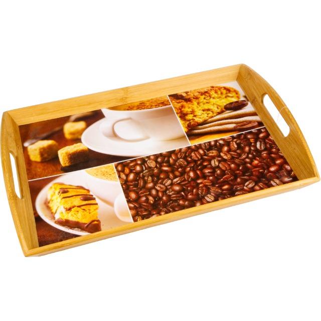 28-775093, KESPER Serviertablett mit Kaffeemotiv, 48 x 31 x 5,5 cm, aus Bambus, mit 2 Griffen