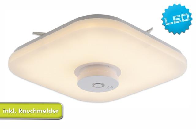 LED Deckenleuchte 12W mit Rauchmelder 10 Jahre DIN zertifiziert