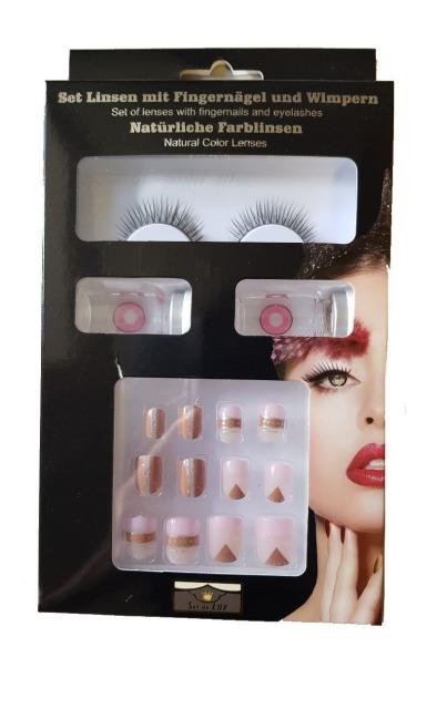 27-52561, Beautyset braun/rosa/nude, mit Wimpern, Kontaktlinsen und Fingernägeln, Kostüm, Karneval, Fashing, Party, Event, usw