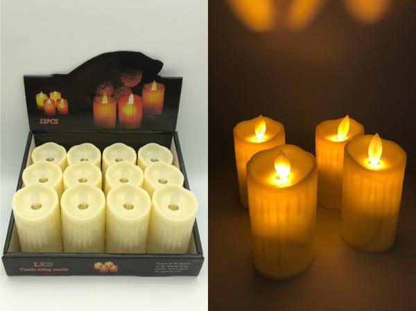 LED Kerzen mit beweglicher Flamme in 12er Display