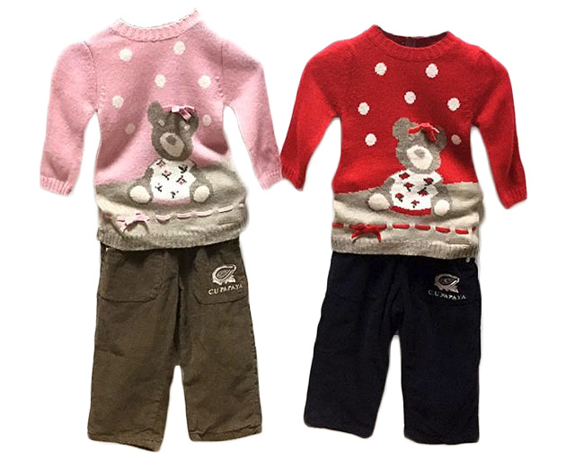 Kinder Baby Mädchen 2er Set 12-36 Monate Thermo Hose Bär Pullover - 5,90 Euro