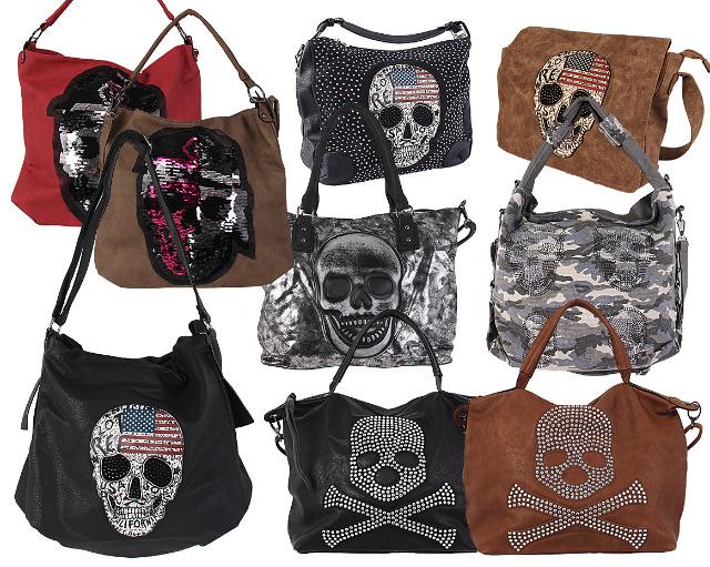 b1decf8031e00 Mixposten Trend Damen Taschen Totenkopf Skull Strass Glitzer Pailletten Shopper  Handtasche Umhängetasche Schultertasche Tasche Tragetasche -
