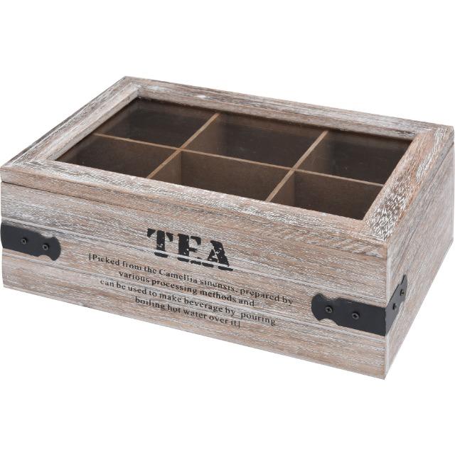 28-078084, Holz Teebox mit 6 Fächern