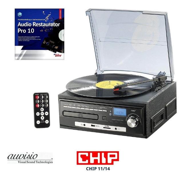 !auvisio Stereoanlage MHX-550.LP Musikplayer + Digitalisierer für Schallplatten, CD, MC, MP3, USB, SD  Kassettendigitalisierer,Musikanlage