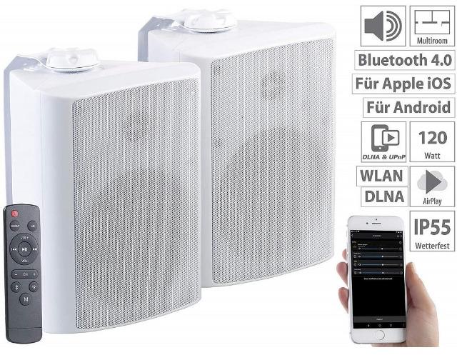 auvisio Multiroom-Außen-Lautsprecher SMR-720.out WLAN, Bluetooth, 120W, IP55, wetterfest, Boxen, wasserdicht, Staubdicht, Musikboxen