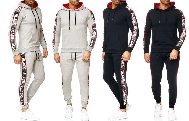 Herren Trend Streifen Jogging Anzug Sportanzug Black Hoody Sportmen Sweatshirtjacke Trainingsanzug Trainingsjacke Jogginganzug Hausanzug - 1