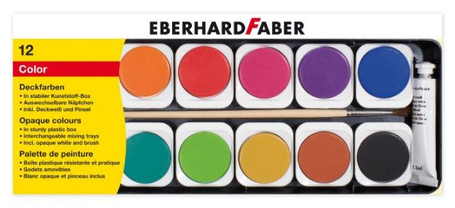 12-578112, FABER Deckfarbkasten + Deckweiß/Pinsel, 12er  8881K13