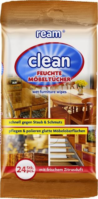 12-11065, ReAm Clean Möbelpflegetücher 24er Pack, mit frischem Zitrusduft