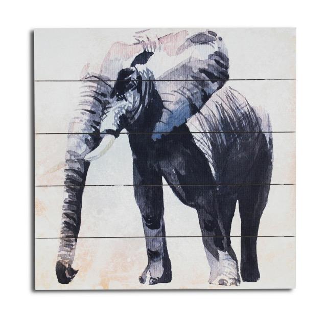 Wandbild aus echtem Holz  Elefant 40 x 40 x 3 cm