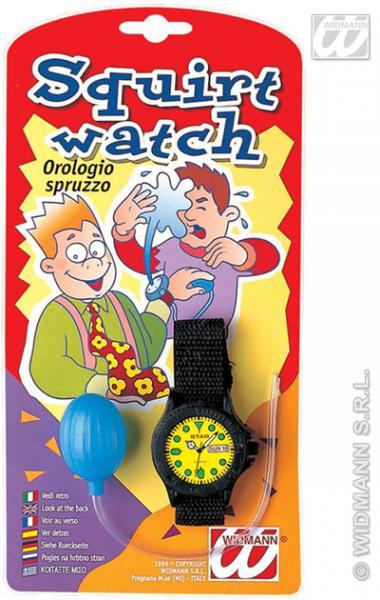 Scherz - Wasserspritz-Uhr auf Karte ca 12x23cm