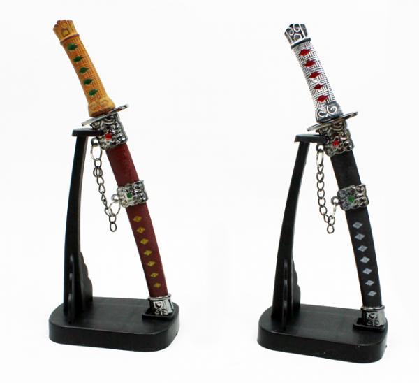 Brieföffner Samurai Schwert m Ständer - in Box ca 16,5x5,5cm