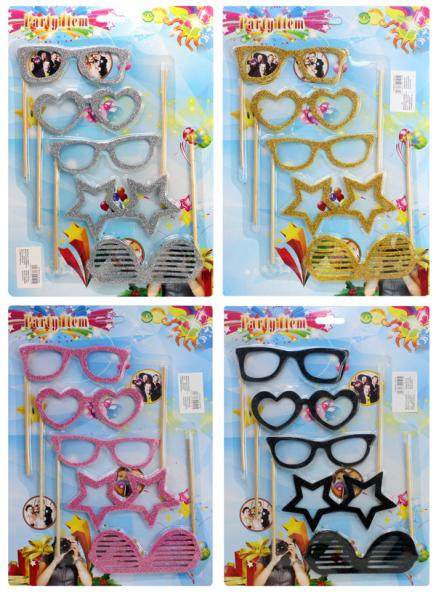 Brillen Selfiebrillen 4-fach sortiert - Karte ca 35x25cm