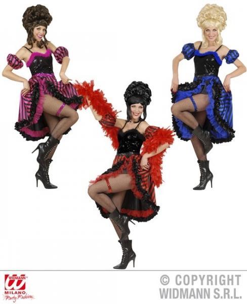 CAN CAN TÄNZERIN in 3 Farben sort. (Kleid, Armstulpen, Strumpfband)