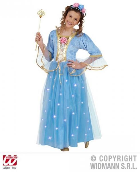 HELLBLAUE PRINZESSIN (Kleid mit leuchtendem Rock, Rosenhaarreif)
