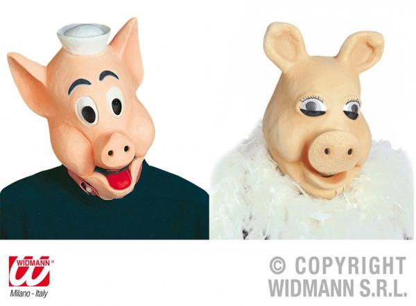 Maske 2-fach sortiert Schweinchen Latex