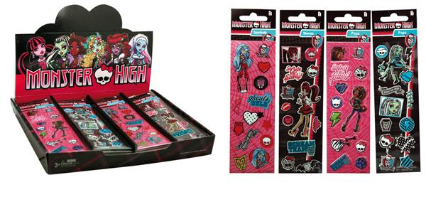 Monster High Sticker - 4 fach sortiert - Bogen ca 16x5cm