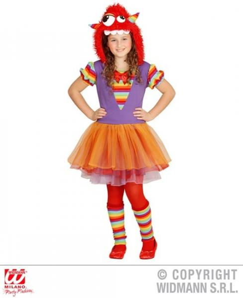 REGENBOGEN MONSTER GIRL (Kleid, Armstulpen, Hut)