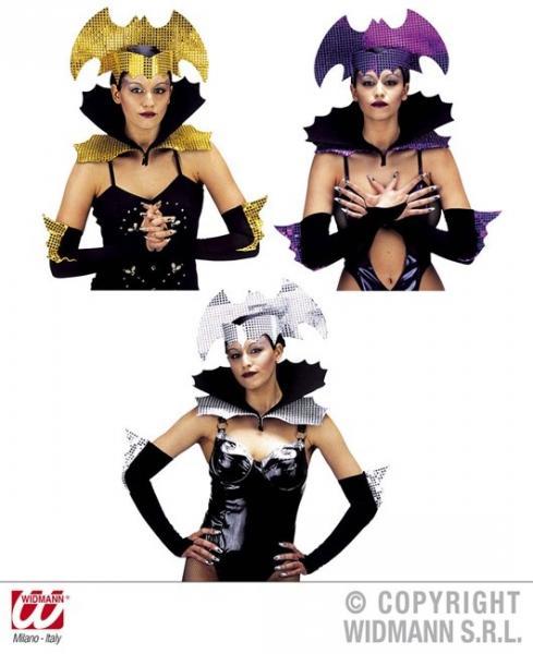 VAMPIRIN Dress- Up- Set (Kopfbedeckung aus Pailletten, Kragen,  Handschuhe) sort. 3 lila, 2 gold, 1 silber
