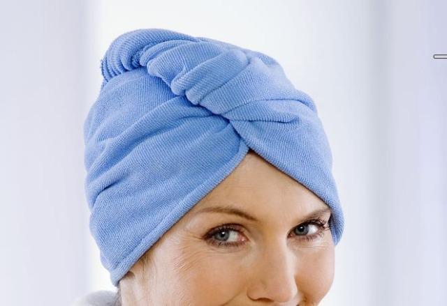 Haar-Trocken-Turban blau