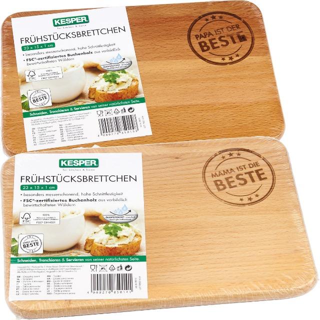 28-850158, Kesper Holz Frühstücksbrett, Schneidebrett, Brotzeitbrettchen, Schneidbrett, Frühstücksbrettchen