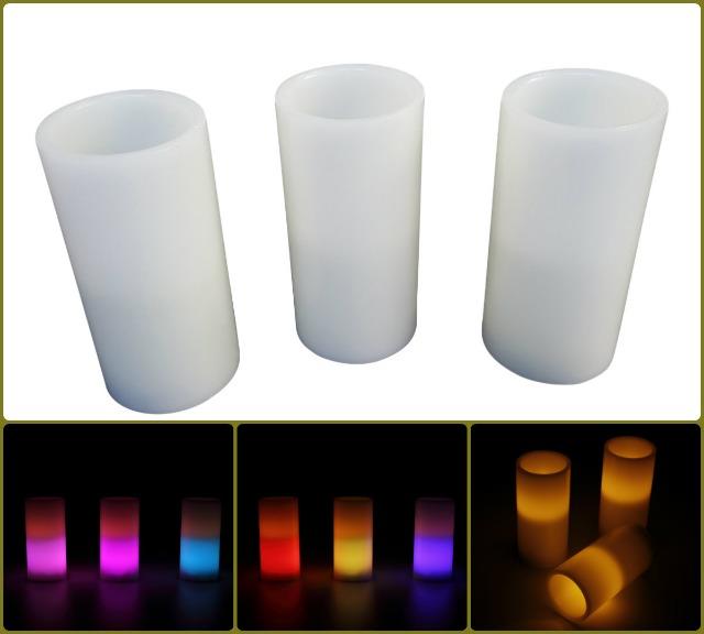 3er-Set LED-beleuchtete Kerzen mit Farbstoppfunktion Farbkombination und Timer  !! Hingucker