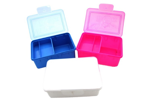Aufbewahrungsbehälter Blau Pink Weiss Brotdose Plastik Box Dose Cerealien Küchen