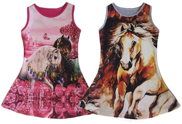 Kinder Mädchen Kleid Pferd Longshirt 2-12 Jahre Sweatshirt Oberteil Kindershirt Kurzarm - 5,90 Euro